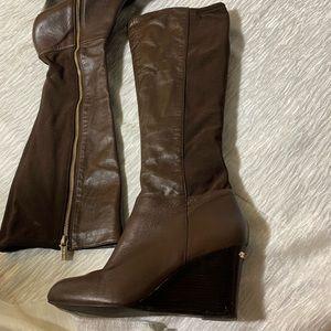 Michael Kors brown wedge sz 8 boots 3 in heels